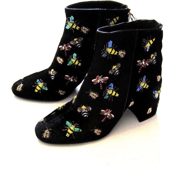 3834ef5436b Zara Beaded Bug Embellished Black Velvet Boots 8